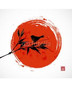 elinacious, Card with bamboo bird and big red sun