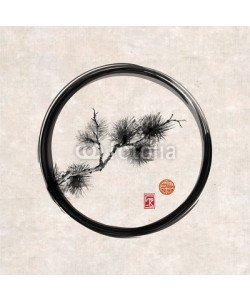 elinacious, Pine tree branch in black enso zen circle