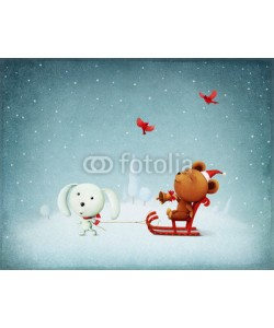 annamei, Greeting card Christmas Adventure Bear and Bunny