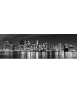 MaciejBledowski, Black and white New York City at night panoramic picture, USA.