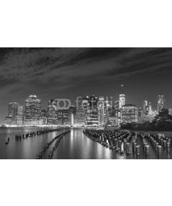 MaciejBledowski, Black and white photo of Manhattan waterfront at night, NYC, USA