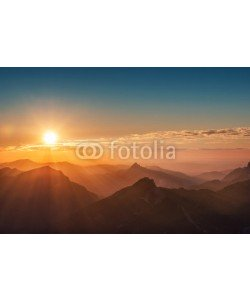 a2l, colorful sunset on top of austrian mountain alps