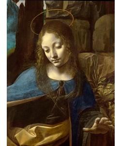 Leonardo da Vinci, Detail of the Head of the Virgin, from The Virgin of the Rocks (The Virgin with the Infant Saint John adoring the Infant Christ accompanied by an Angel) detail, c.1508 (oil on panel)