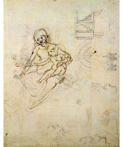 Leonardo da Vinci, Studies for a Virgin and Child and of Heads in Profile and Machines, c.1478-80 (pencil and ink on paper)