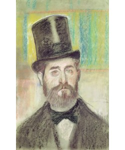 Edgar Degas, Man in an Opera Hat (pastel on paper)