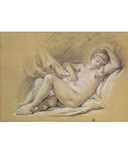 Francois Boucher, Nude Woman on a Bed (charcoal & white chalk on paper)