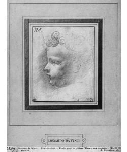 Leonardo da Vinci, Head of a child (pencil on paper) (b/w photo)