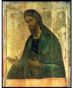 Andrei Rublev, Icon of St. John the Baptist (tempera on panel)