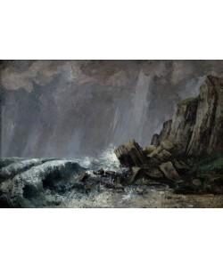 Gustave Courbet, Downpour at Etretat (oil on canvas)