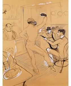Henri de Toulouse-Lautrec, Chocolat Dancing, 1896 (pen & ink and coloured pencil on paper)