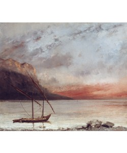 Gustave Courbet, Sunset over Lake Leman, 1874 (oil on canvas)