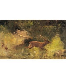 Gustave Courbet, Stag Running through a Wood, c.1865 (oil on canvas)