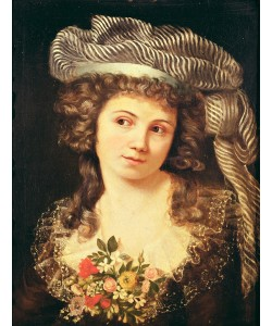 Gustave Courbet, Portrait of a young woman in the style of Labille-Guiard (oil on canvas)