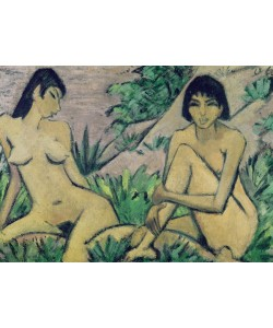 Otto Muller or Mueller, Two female nudes in a landscape, c.1922 (oil on burlap)
