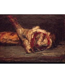 Paul Cézanne, Still Life of a Leg of Mutton and Bread, 1865 (oil on canvas)