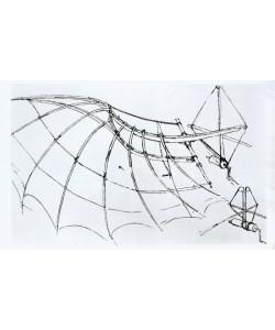 Leonardo da Vinci, Diagram of a mechanical wing, manuscript B, 1488-89 (pen & ink on paper) (b/w photo)