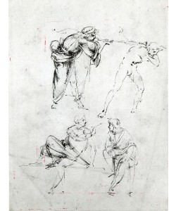 Leonardo da Vinci, Study of a man blowing a trumpet in another's ear, and two figures in conversation, c.1480-82 (pen and ink on paper)