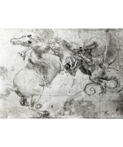 Leonardo da Vinci, Battle between a Rider and a Dragon, c.1482 (stylus underdrawing, pen and brush on paper)