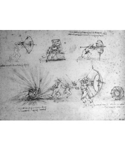 Leonardo da Vinci, Study with Shields for Foot Soldiers and an Exploding Bomb, c.1485-88 (pen and ink on paper)