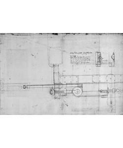 Leonardo da Vinci, Diagram of a Mechanical Bolt (pen and ink on paper)