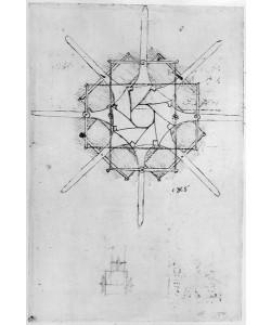Leonardo da Vinci, Design for a folding Capstan handle, Fol. 376v-c (pen and ink on paper)