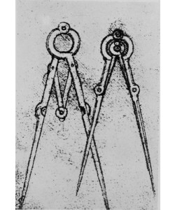 Leonardo da Vinci, Two types of adjustable-opening compass, fol. 108v from Paris Manuscript H, 1493-4 (pen & ink on paper)