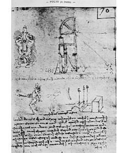 Leonardo da Vinci, Suggestions on how to construct a bastion at night, fol. 70r from Paris Manuscript B, 1488-90 (pen & ink on paper)
