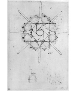 Leonardo da Vinci, Design for a folding Capstan handle, Fol. 376v-c (pen and ink on paper)