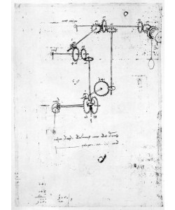 Leonardo da Vinci, Machinery designs, fol. 399v-b (pen and ink on paper)