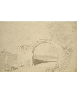 Caspar David Friedrich, River Landscape with an Arch (unfinished) (pencil, pen and w/c on paper)