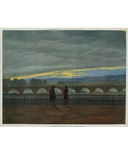 Caspar David Friedrich, August Bridge in Dresden (colour litho)