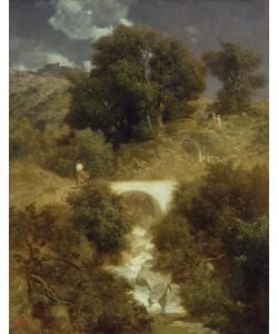 Arnold Bocklin, Roman Landscape with a Bridge, 1863 (oil on canvas)