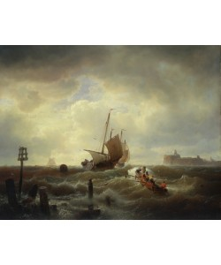 Andreas Achenbach, The Entrance to the Harbour at Hellevoetsluys, 1850 (oil on canvas)