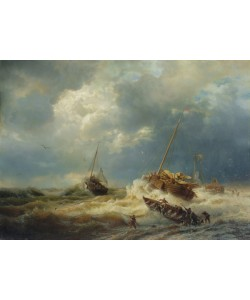 Andreas Achenbach, Ships in a Storm on the Dutch Coast, 1854 (oil on canvas)