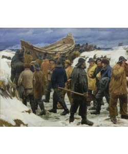 Michael Peter Ancher, The Lifeboat is Taken through the Dunes, 1883 (oil on canvas)