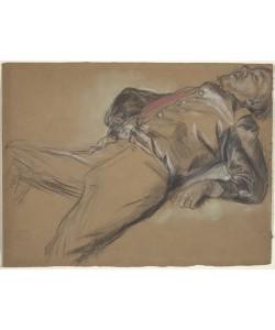 Edgar Degas, Fallen Jockey, c.1866 (black chalk and pastel on brown wove paper)
