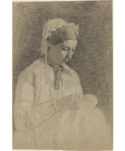 Edgar Degas, Woman Embroidering, 1855-1860 (black chalk and graphite heightened with white on wove paper)