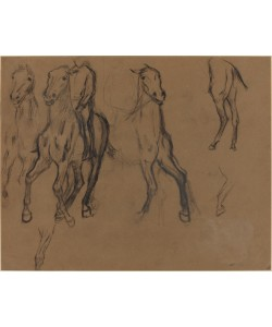 Edgar Degas, Study of Horses, c.1886 (charcoal and graphite on brown paper)