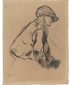 Edgar Degas, Study of a Jockey, c.1884 (charcoal on brown paper)