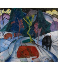 Franz Marc, A Bison in Winter (The Red Bison), 1913 (oil on canvas)
