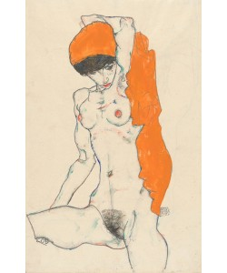Egon Schiele, Standing Nude with Orange Drapery, 1914 (w/c, gouache and graphite on paper)