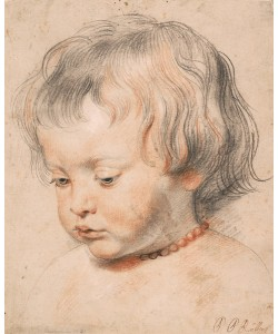 Peter Paul Rubens, Nicolaas Rubens Wearing a Coral Neckless, c.1619-20 (white and black chalk and sanguine on paper)