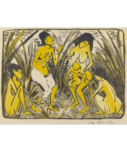 Otto Muller or Mueller, Finding of Moses (Auffindung des Moses), c.1920 (lithograph in black and gold)
