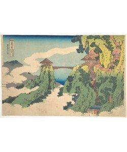 Katsushika Hokusai, The Hanging-cloud Bridge at Mount Gy?d? near Ashikaga (Ashikaga Gy?d?zan kumo no kakehashi), from the series Remarkable Views of Bridges in Various Provinces (Shokoku meiky? kiran) (colour woodblock print)