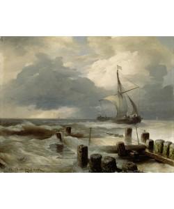 Andreas Achenbach, Seascape, 1894 (oil on wood)