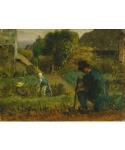 Jean-Francois Millet, Garden Scene, 1854 (oil on canvas)