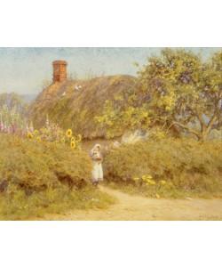 Helen Allingham, A Surrey cottage (w/c on paper)