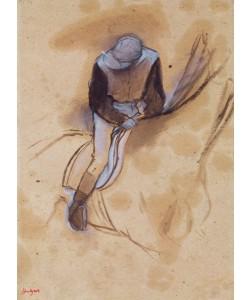 Edgar Degas, Jockey flexed forward standing in the saddle, 1860-90 (pastel & charcoal on paper)