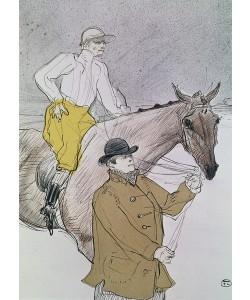 Henri de Toulouse-Lautrec, The jockey led to the start (colour litho)