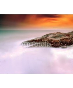 addingwater, Rocks in the sea in sunset